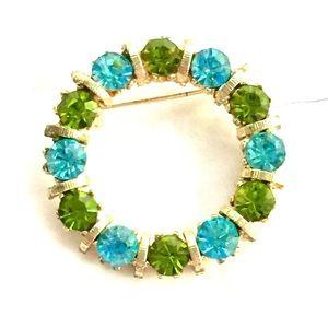 Vintage blue green rhinestone circle brooch